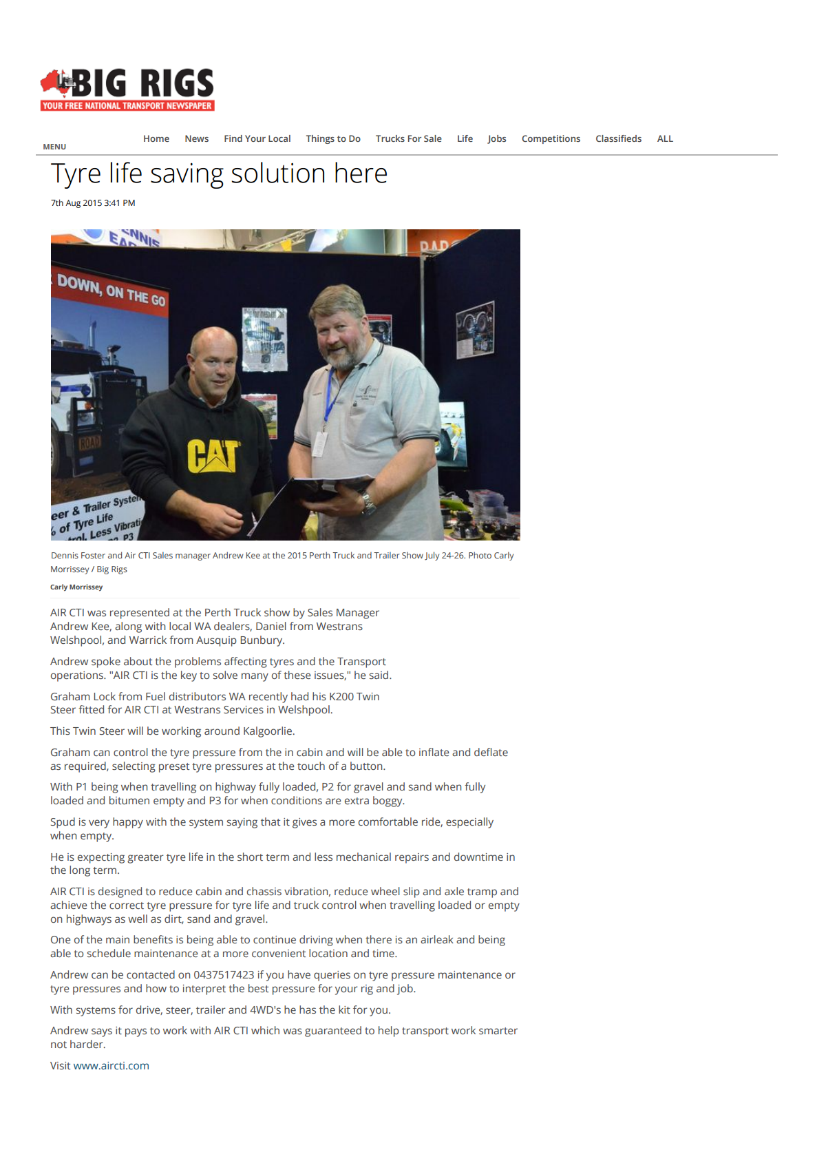 Air CTI Article in Big Rigs 2015